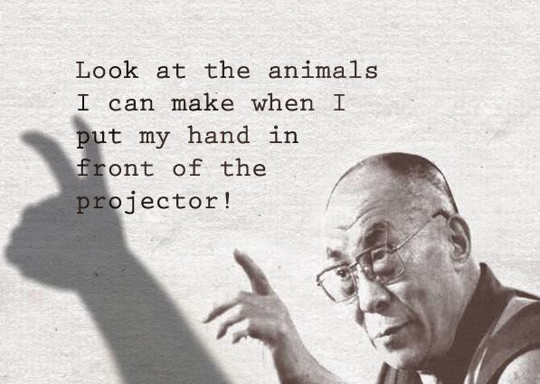 Dalai Lama makes shadow puppet animals